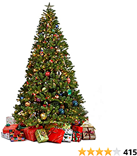 Juegoal Artificial Christmas Tree with LED String Lights (NOT Pre-Strung) 8 Lighting Modes Fake Xmas Tree with Durable Metal Legs (7.5 FT)