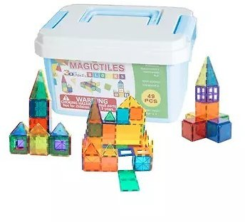 49-Piece ZUMMY Kids Magnetic Building Blocks Tile Set