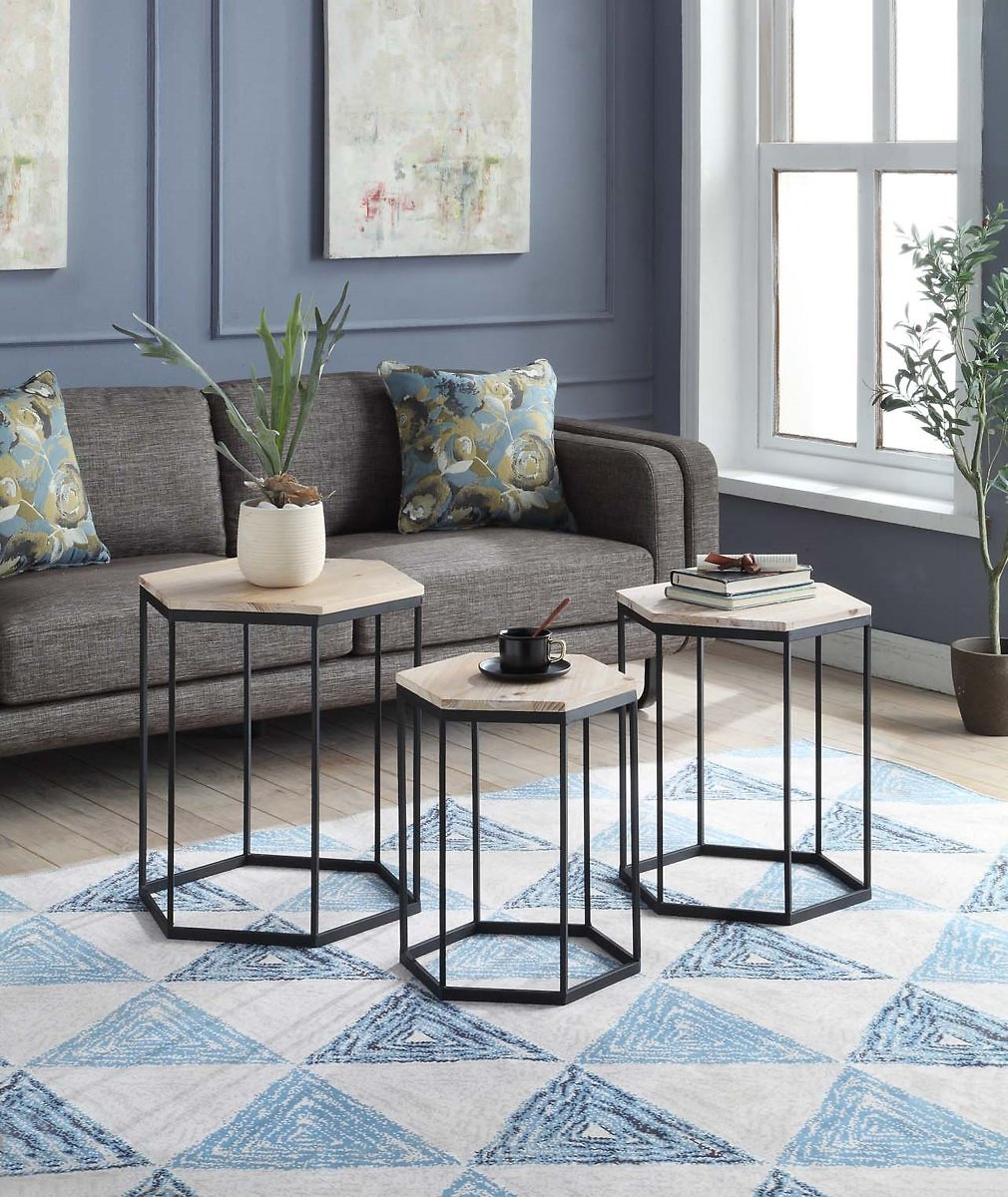 4D Concepts 631029 Layton Nesting Sextagon Tables, Set of 3 - Distressed Wood Top with Black Metal