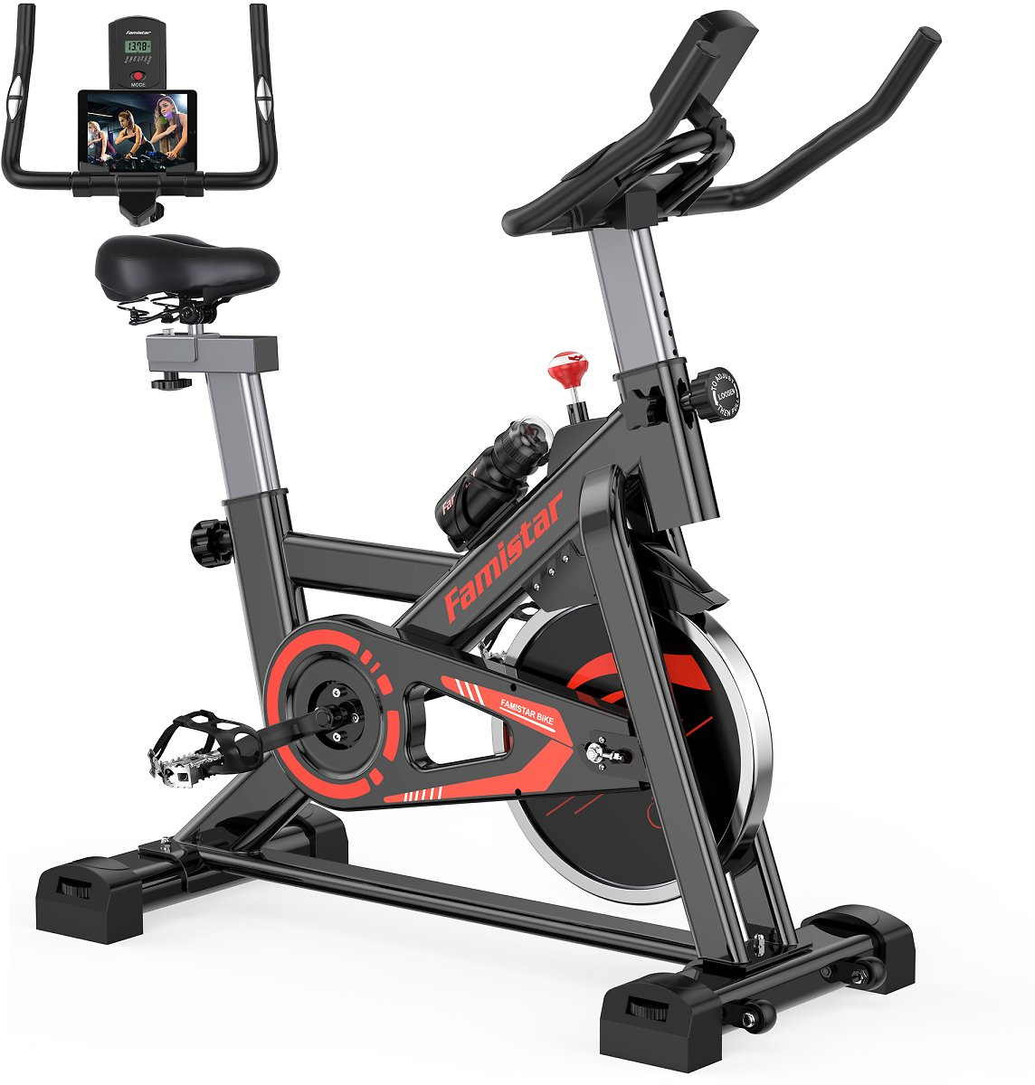 Famistar Exercise Bike Indoor Cycling Stationary Bike - Red