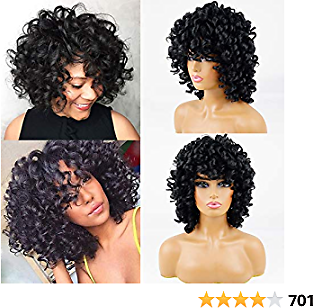 Short Black Afro Curly Synthetic Hair Wigs for Black Women Andromeda Soft Fluffy Curls Hair Wigs Natural Black Loose Curly African American Costume Cosplay Cheap Half Wigs + 1 Free Wig Cap(Black)