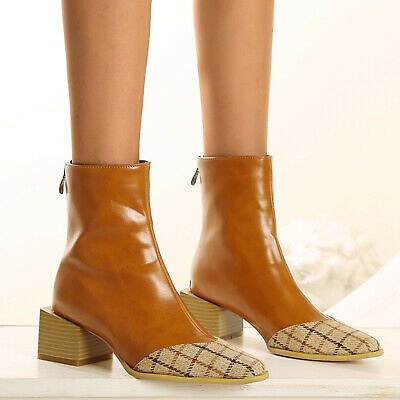New Fashion Trendy Block Heels Womens Winter Sqaure Toes PU Ankle Boots Shoes