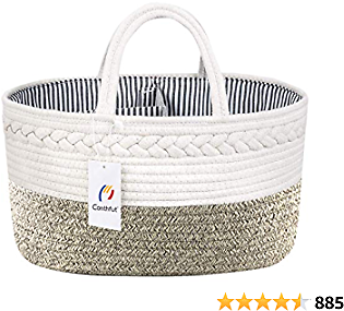 Conthfut Baby Diaper Caddy Organizer - Stylish Rope Nursery Storage Bin 100% Cotton Canvas Portable Diaper Storage Basket for Changing Table - Baby Shower Basket