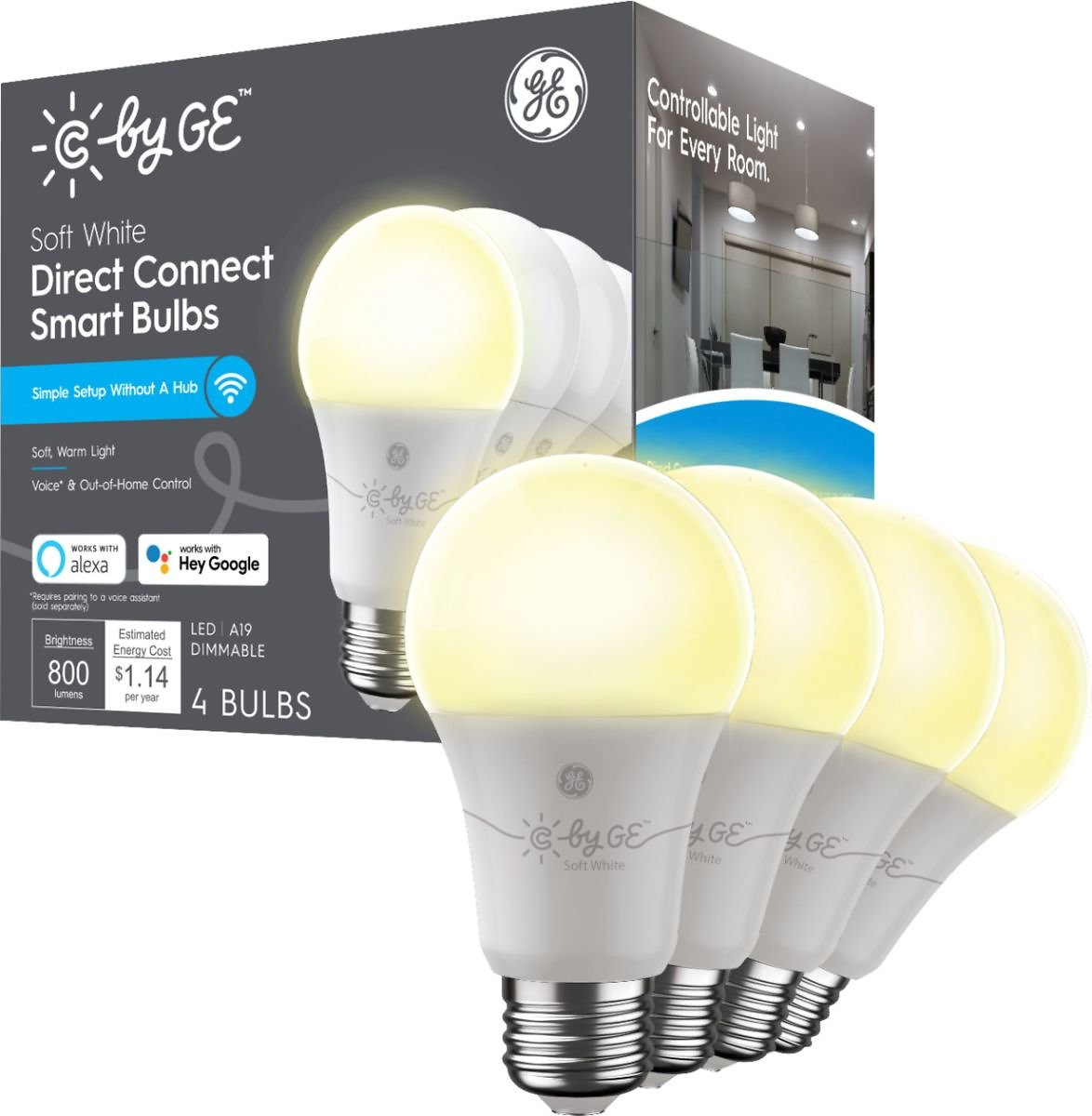 4-Pk C by GE Soft White Direct Connect Light Bulbs 60W