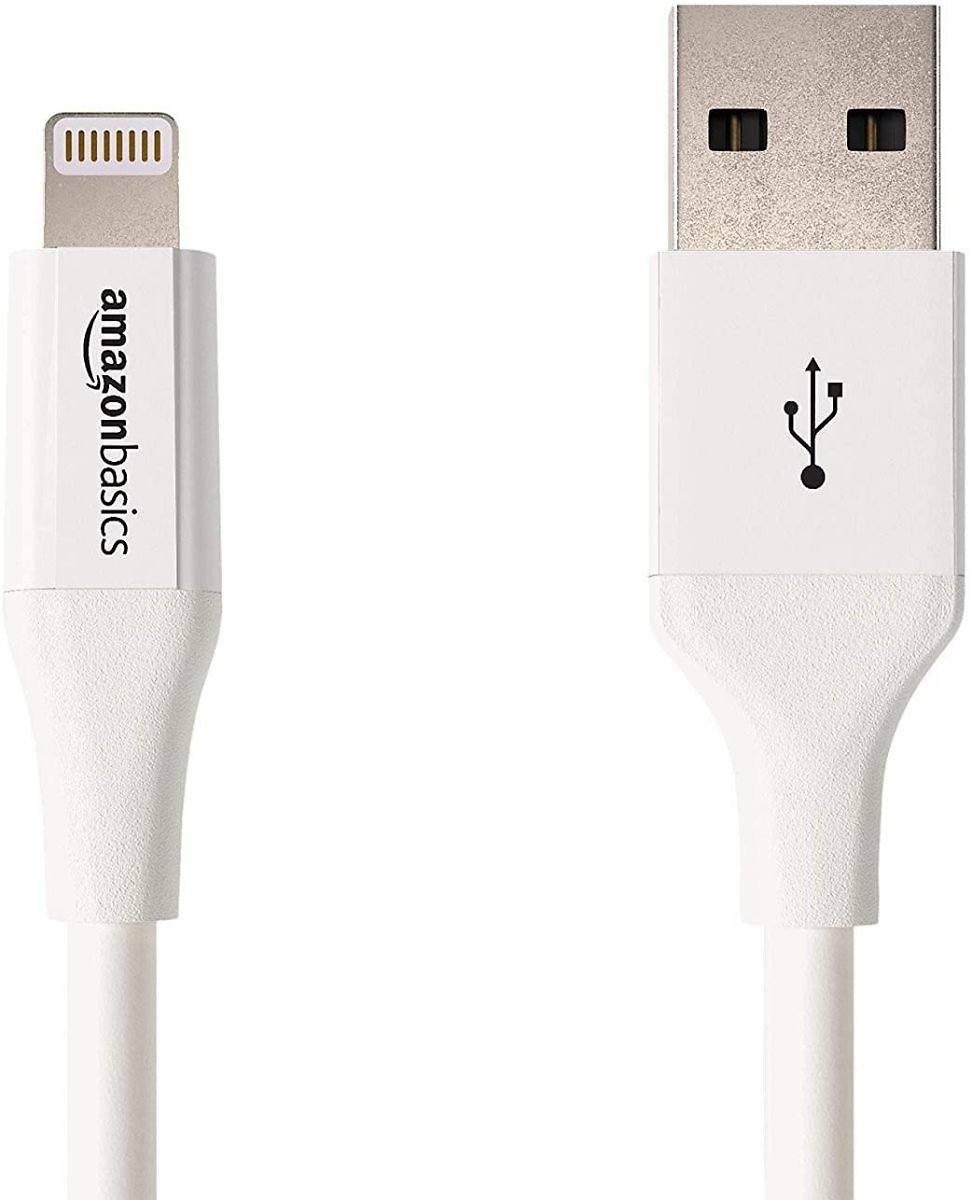 AmazonBasics Lightning to USB A Cable, Advanced Collection, MFi Certified Apple IPhone Charger, White, 3 Foot, 2 Pack