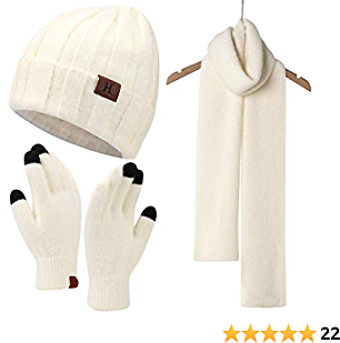Womens Winter Warm Knit Beanie Hat Touchscreen Gloves Long Scarf Set with Fleece Lined Skull Cap Gloves Neck Warmer for Women