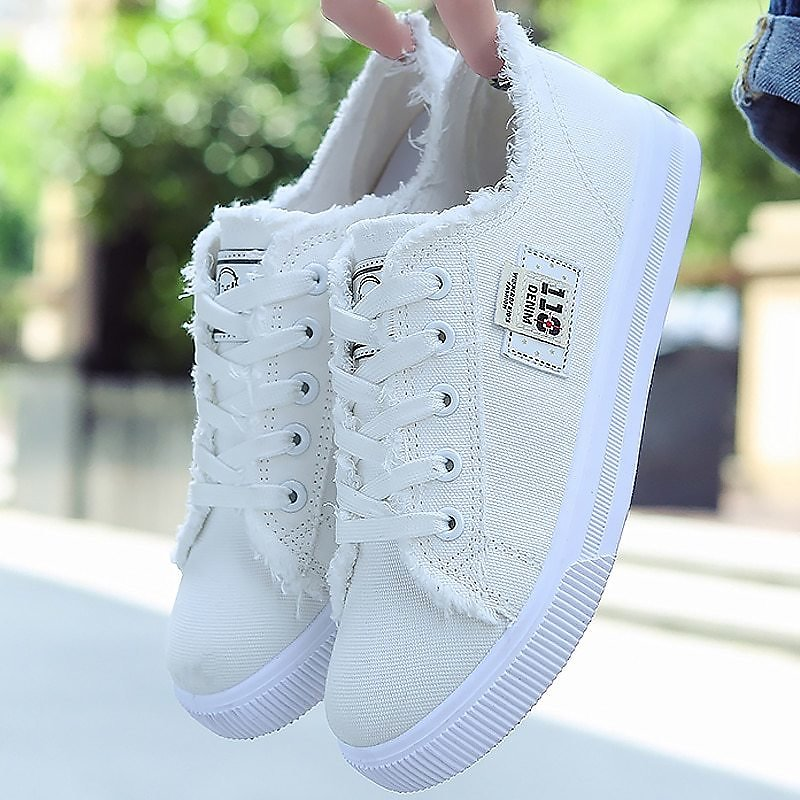 US $14.1 58% OFF|Canvas Shoes Woman 2020 New Arrival Lace Up Spring/autumn Sneakers for Girls Fashion Denim Solid Blue/White Casual Shoes Tennis|autumn Fashion|shoes Fashionshoes Fashion Women - AliExpress