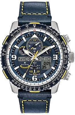 Citizen Eco-Drive Men's Analog-Digital Chronograph Promaster Blue Angels Skyhawk A-T Blue Leather Strap Watch 46mm & Reviews - All Fine Jewelry - Jewelry & Watches