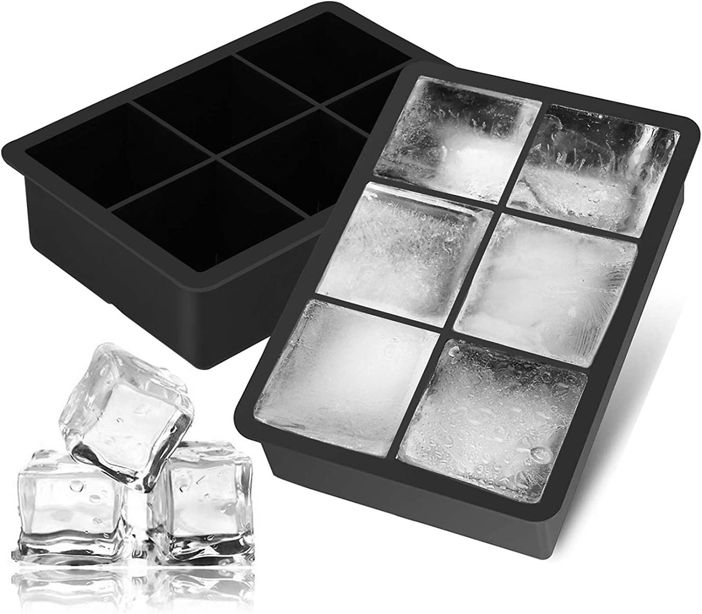 Ice Cube Trays 2 Pack,Silicone Ice Trays with Lid Easy-Release Flexible Large Square Ice Molds 6 Cubes Per Tray