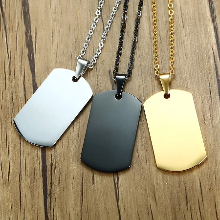 Minimalist Mens Stainless Steel Dog Tag Pendant Necklace High Polished Customize Logo Name Male Collar Accessories