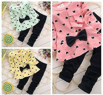 SAVE 5% ON 2PCS Cotton Toddler Baby Girl Outfits Love Bowknot Coat + Pants Set Clothes