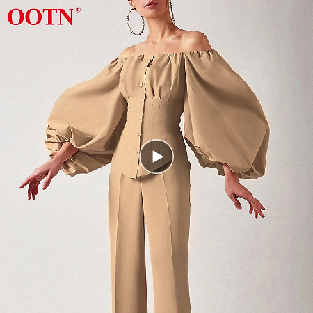 OOTN Sexy Slim Off Shoulder Women Shirt Blouses Lantern Sleeve Tunic Female Top Laides Shirt Pleated Elegant White Blouse Button
