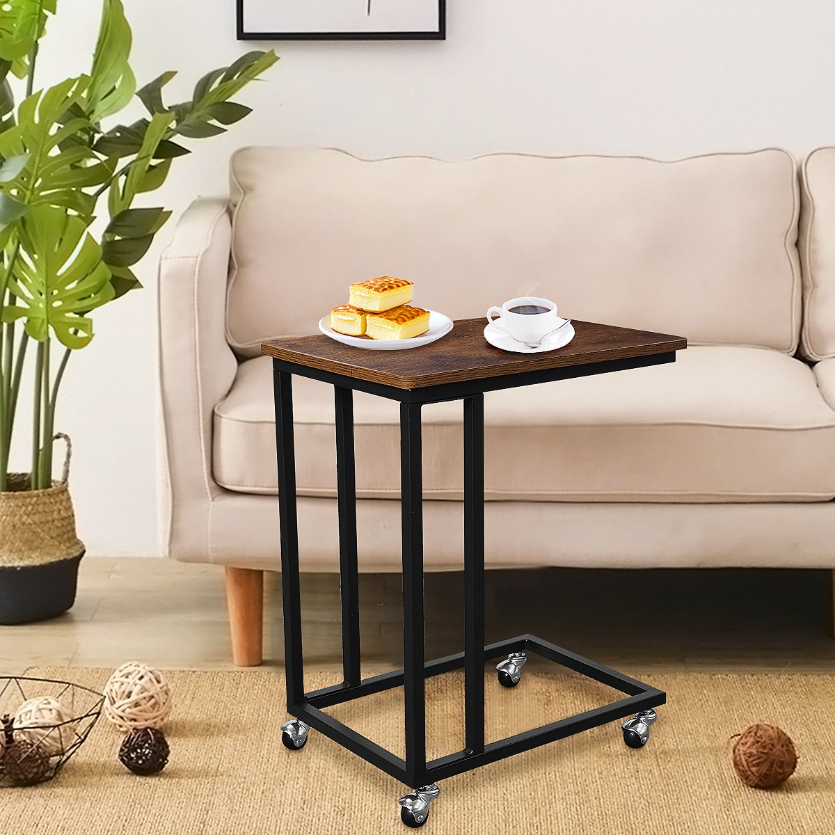 Mobile C Shape Side Table Sofa Couch Side Table Tray for Snack Coffee Laptop Tablet, C End Table for Living Room