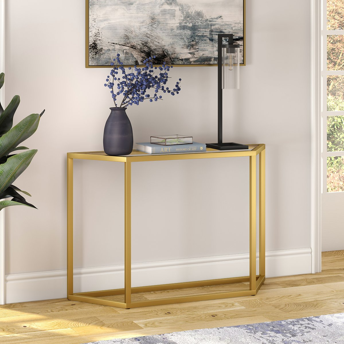 Geometric Metal Console Table, Glass Sofa Table for Living Room/Hallway/Entryway in Gold Finish, 29