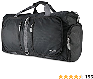 ProCase Foldable Travel Duffel Bag, 35L Waterproof Gym Sports Bag Lightweight Storage Carry Duffle Tote Bag for Luggage Gym Sports – Black