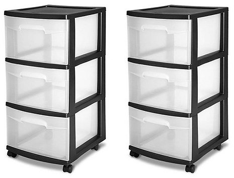 (2-Pack) Sterilite 3-Drawer Storage Cart, Clear with Black Frame    2 X 28309002