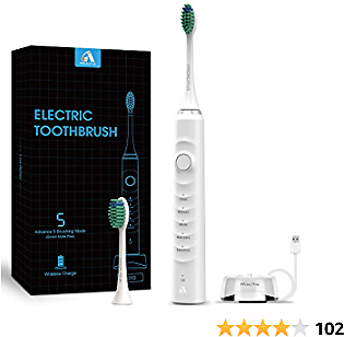 Electric Toothbrush with Powerful Sonic Cleaning-Rechargeable Electric Toothbrushes for Teeth Whitening and Cleaning, 5 Modes, Smart Timer, 2 Replacement Heads, White