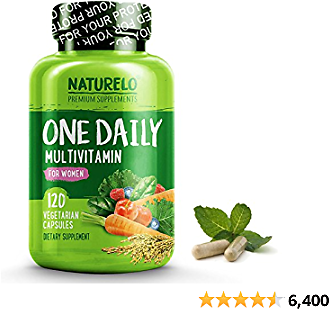 NATURELO One Daily Multivitamin for Women - Natural Energy Support - Whole Food Supplement to Nourish Hair, Skin, Nails - Non-GMO - No Soy - Gluten Free - 120 Capsules | 4 Month Supply