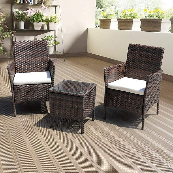 Glouster 3 Piece Rattan Seating Group with Cushions