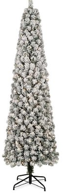 7' Sun Valley Flocked Pencil Pre-Lit LED Artificial Christmas Tree with Clear Lights