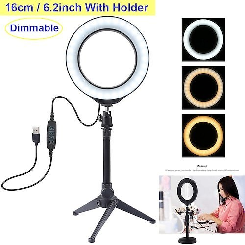 6.2 Inch USB 3 Modes Dimmable LED Ring Vlogging Photography Video Lights + Desktop Tripod Holder with Cold Shoe Tripod Ball Head