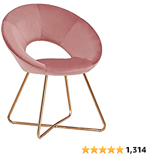Duhome Modern Accent Velvet Chairs Dining Chairs Single Sofa Comfy Upholstered Arm Chair Living Room Furniture Mid-Century Leisure Lounge Chairs with Golden Metal Frame Legs 1 PCS Pink