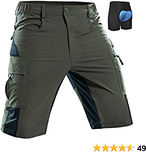 Men's-Mountain-Bike-Shorts-Padded-MTB-Shorts-Cycling-Biking-Riding-Baggy-Pants Quick Dry, Lightweght with Pockets
