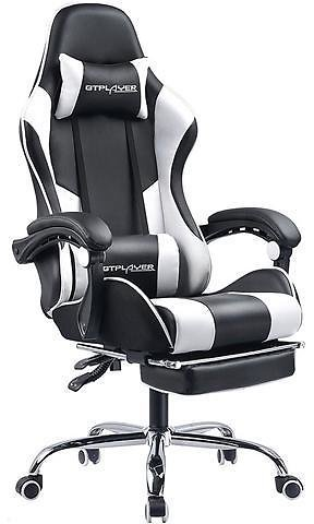 GTPLAYER Gaming Chair with Footrest Ergonomic Massage Office Chair for Adults Adjustable Swivel , White