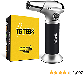 TBTEEK Kitchen Torch, Butane Torch Cooking Torch with Safety Lock & Adjustable Flame for Cooking, BBQ, Baking, Brulee, Creme, DIY Soldering(Butane Not Included)