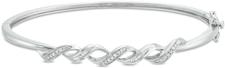 1/5 CT. T.W. Diamond Cascading Ribbon Bangle in Sterling Silver