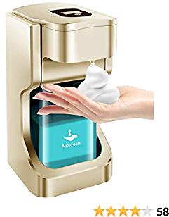 YouEoo Automatic Soap Dispenser -Touchless Infrared Sensor Battery Operated Electric Soap Dispenser Wall Mount with Adjustable Soap Dispensing Volume Control Touch Button 17oz / 500ml (Gold)
