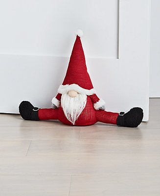 Holiday Lane Christmas Cheer Red and Grey Gnome Door Stopper, Created for Macy's & Reviews - Holiday Shop - Home