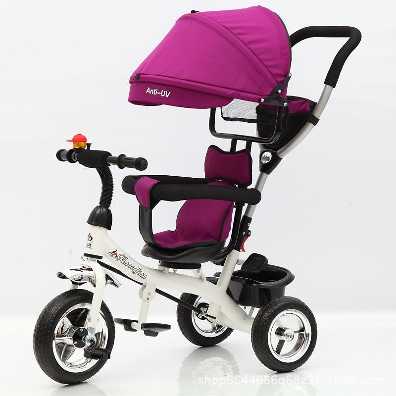 Child Tricycle Stroller Folding Three Wheels Stroller Bicycle Rotating Seat Baby Car Convertible Handle Free Inflation Wheels