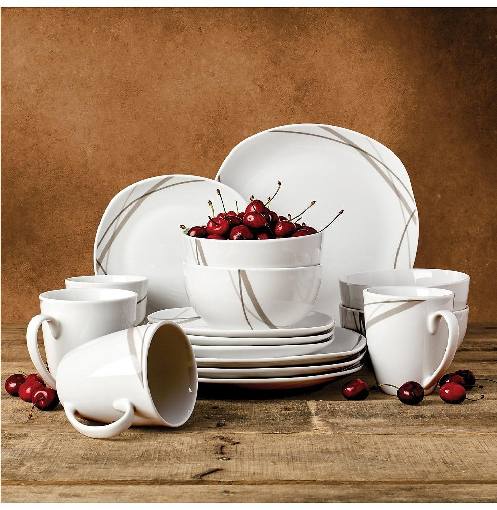 Tabletops Unlimited Tabletops Gallery Curves Square 16-PC Dinnerware Set, Service for 4