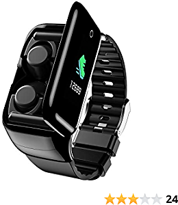 W@nyou 2 in 1 Fitness Tracker 5.0 Wireless Earbuds Smart Bracelet Heart Rate,Blood Pressure,Pedometer,Calories,Mileage,Shade to Make Phone Take Photo,Sleep Monitoring,Alarm, Anti Lost