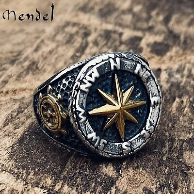 MENDEL Mens Gold Nautical Biker Marine North Star Anchor Ring Stainless Steel