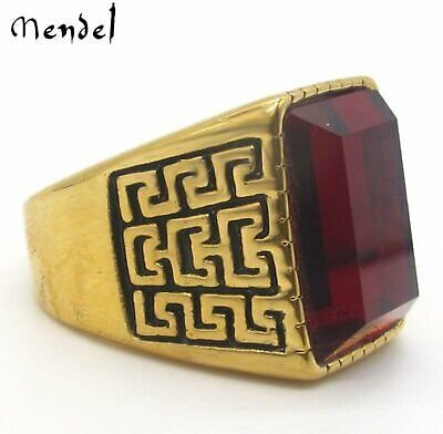 MENDEL Mens Gold Stainless Steel Red Ruby Stone Crystal Ring For Men Size 7-15