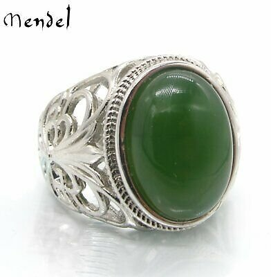 MENDEL Mens Sterling Silver Natural Real Green Jade Stone Ring For Men Size 8-13