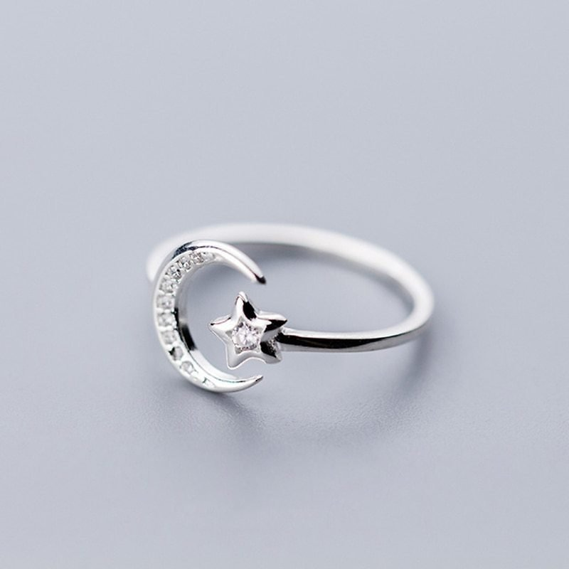 US $3.58 |Real 925 Sterling Silver Minimalist Zircon Moon Star Opening Ring For Charming Women Party Fine Jewelry Cute 2019 Gift|Rings| - AliExpress