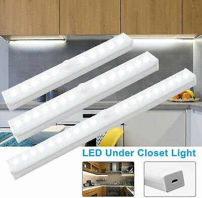 Motion Sensor Under Cabinet Closet Night Lights LED Rechargeable USB Room Lights