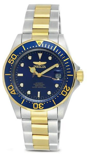 Invicta 8928 Mens Automatic Pro Diver On a Stainless Steel & Goldtone Bracelet With a Blue Dial & Bezel Watch