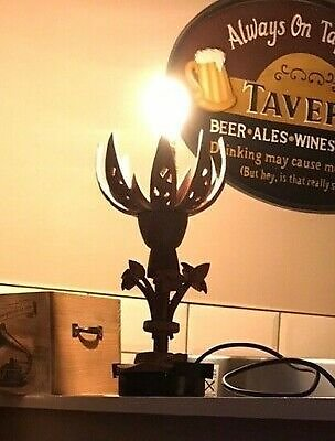Indian Wooden Table Lamp Lotus Flower-shaped Handcarved