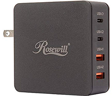 Rosewill 66W 4-Port Dual QC3.0 & Dual USB-C Wall Charger w/ Power Delivery