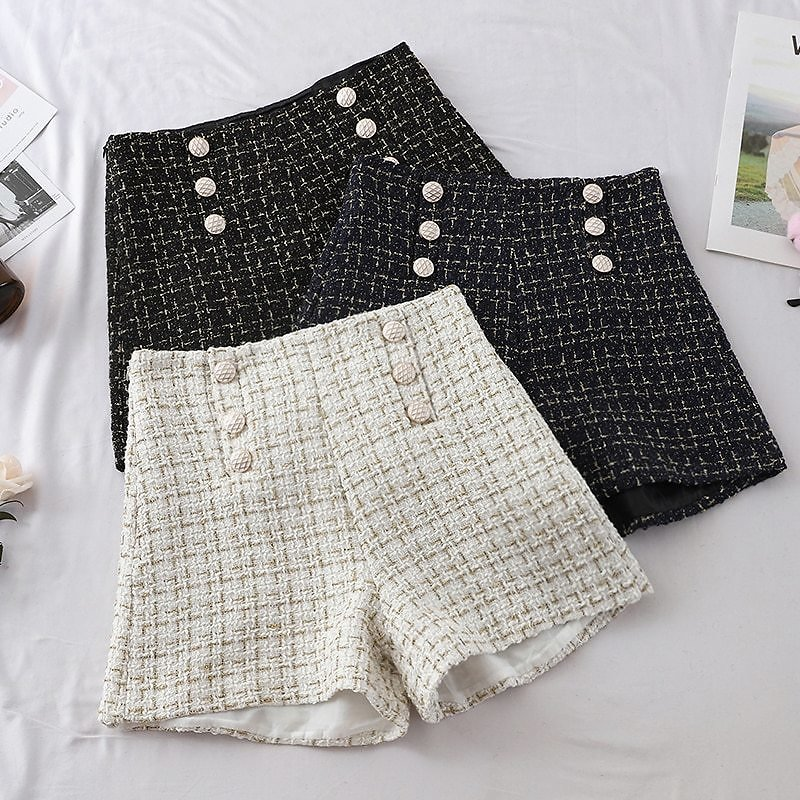 US $13.78 24% OFF|Plaid Shorts Women Outside Female Wear 2019 Autumn Spring New Double Breast Braided High Waist Wide Legs Shorts Black White Blue|Shorts| - AliExpress