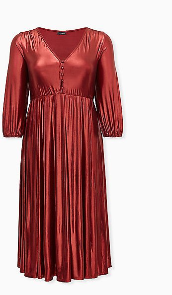 Red Liquid Knit Tea Length Dress