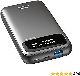 TOZO PB2 PD+QC 3.0 Fast Charger 20000mAh with Visible Digital Display Portable Power Bank 18W Battery Pack with Dual Input Ports, High-Speed Charging for IPhone,Samsung and More.Gray