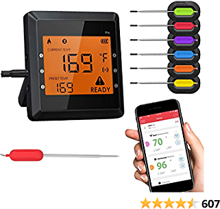 Meat Thermometer for Grilling, Bluetooth Meat Thermometer for Cooking with 6 Probes and Super Large LCD Screen Wireless Cooking Thermometer for Grilling Oven BBQ Smoker Candy Kitchen (New Version)