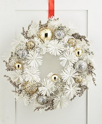 Holiday Lane Shine Bright White and Gold Wreath, Created for Macy's & Reviews - Holiday Shop - Home
