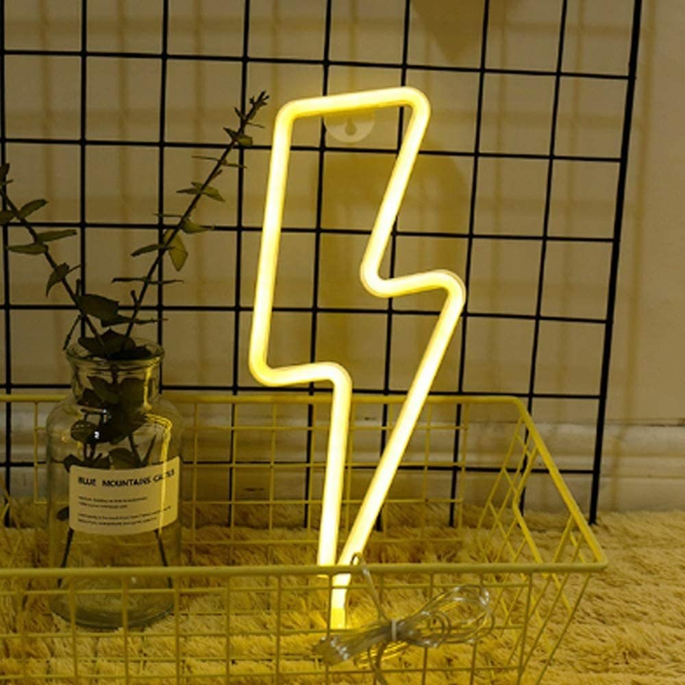 Neon Night BeMoment Light Lightning Bolt Battery and USB Powered Wall Art LED Decorative Lights for Living Room Party Decoration