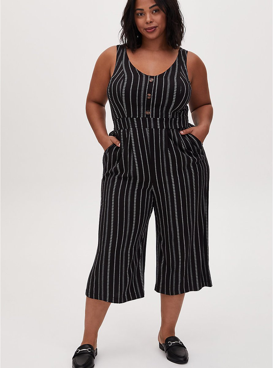 Black Stripe Challis Button Culotte Jumpsuit